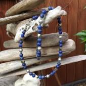 Halskæde, små blå lapis lazuli-20