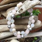 Halskæde, lyse perler-20