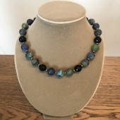 halskæde blå-grønne perler