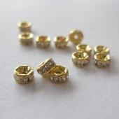 4mm rhinstens rondeller, guldbelagte med klare sten-20