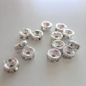 4mm rhinstens rondeller, sølvbelagte med klare sten-20