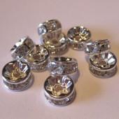 6mm rhinstens rondeller, sølvbelagte med klare sten-20