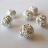 10mm sølvbelagt perle med store rhinsten-20