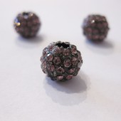 10mm rhinstens belagt metalperle, gunmetal med rosa sten-20