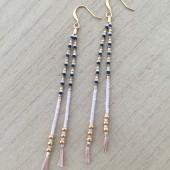 lange lyserøde øreringe med guld
