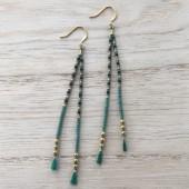 Øreringe på silkesnor, grøn silk satin med guld-20