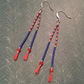 Øreringe på silkesnor, blå, rød og sølv-20