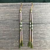 Øreringe på silkesnor, lilla, grøn, hvid og guld-20