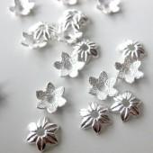 10mm sølvbelagte blomster perleskåle, 20 stk-20