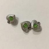 Stål hjerte vedhæng med rhinsten, lys grøn-20