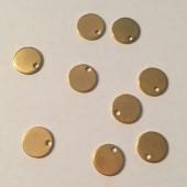 Stål vedhæng, guldfarvet mat mønt 8mm, 10 stk-20