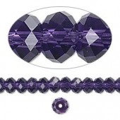 Swarovski® crystal, 6x4mm facetslebet rondel, Purple velvet-20
