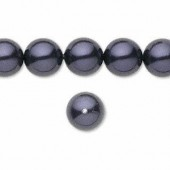Swarovski® crystal pearl, 4mm rund, dark purple 10 stk-20