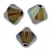 6mm Swarovski bicones crystal bronze shade 2x