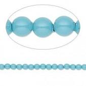 Swarovski® crystal pearl, 3mm rund, turquoise 10 stk-20
