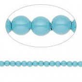 Swarovski® crystal pearl, Turquoise, 3mm rund, 10 stk-20