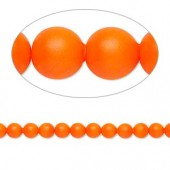 Swarovski® crystal pearl, 4mm rund, neon orange 10 stk-20