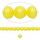 Swarovski® crystal pearl, 4mm rund, neon gul 10 stk-20