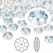 Swarovski® crystal, 8mm marguerite lochrose flower, Crystal AB-20