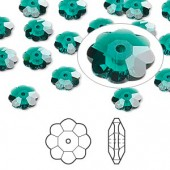 Swarovski® crystal, 8mm marguerite lochrose flower, Emerald-20