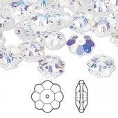 Swarovski® crystal, 10mm marguerite lochrose flower, Crystal AB-20
