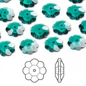 Swarovski® crystal, 10mm marguerite lochrose flower, Emerald-20