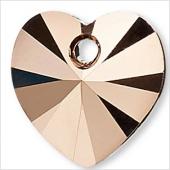 Swarovski Crystal Passions, crystal rose gold 2x,10x10mm Xilion heart, 2 stk-20
