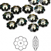Swarovski® crystal, 10mm marguerite lochrose flower, Crystal tabac, foil back-20