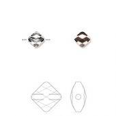 Swarovski crystal, 6mm facetslebet mini rhombus, crystal rose gold-20
