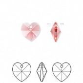 Swarovski Crystal Passions,10x10mm Xilion heart, Indian pink, 2 stk-20