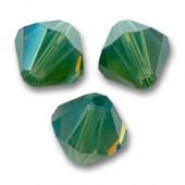 Swarovski crystal 3mm bicone, palace green opal, 10 stk-20