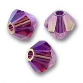 Swarovski crystal 4mm bicone, Amethyst AB2X, 10 stk-20