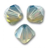 Swarovski crystal 4mm bicone, Light Grey Opal, 10 stk-20