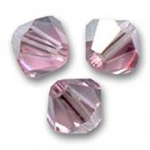 Swarovski crystal 4mm bicone, Light Rose Satin, 10 stk-20
