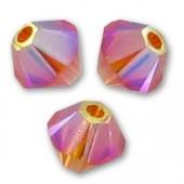 Swarovski crystal 4mm bicone, Tangerine AB2X, 10 stk-20