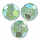 Swarovski crystal 6mm facetslebet rund, Peridot ABFC-20