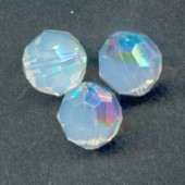 Swarovski crystal 6mm facetslebet rund, White Opal AB-20