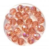6mm swarovski facetslebet rund rose peach shimmer