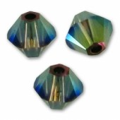 4mm swarovski bicones iridescent green 2x