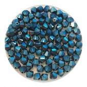 4mm Swarovski bicones metallic blue 2x