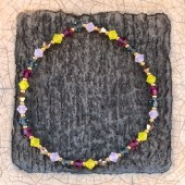 Swarovski armbånd gul og pink