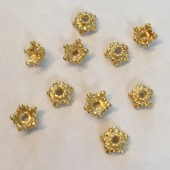 6mm perleskål i guldbelagt sterling sølv, 10 stk-20