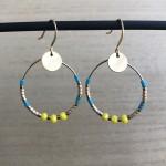 guld øreringe turkis og gul