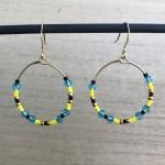 gule og turkise øreringe hoops