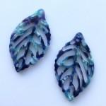 Store bladvedhæng turkis-blå