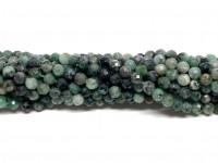 4mm facetslebet ægte smaragd perler