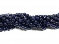 6mm facetslebet blå goldstone
