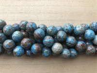 14mm facetslebne runde perler brun og turkis