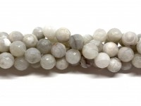 10mm facetslebne perler af hvid crazy agat