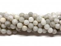 8mm facetslebne perler af hvid crazy agat